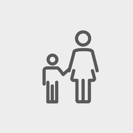 icon persons: Mother and child icon thin line for web and mobile, modern minimalistic flat design. Vector dark grey icon on light grey background.