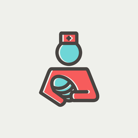 birthing: Nurse holding the baby icon thin line for web and mobile, modern minimalistic flat design. Vector icon with dark grey outline and offset colour on light grey background.