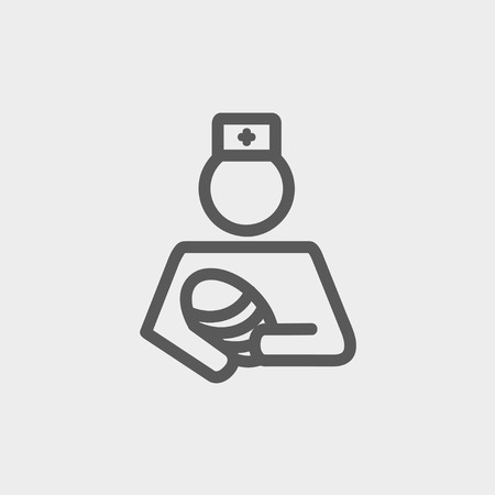 conceived: Nurse holding the baby icon thin line for web and mobile, modern minimalistic flat design. Vector dark grey icon on light grey background. Illustration
