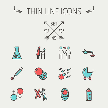 sperm: Medicine thin line icon set for web and mobile. Set include- stroller, feeding bottle, egg and sperm cells, chromosomes, test tube, injection icons. Modern minimalistic flat design. Vector icon with dark grey outline and offset colour on light grey backgr