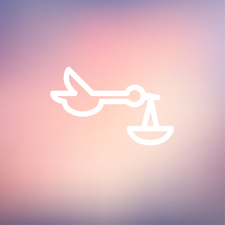 Baby basket and stork icon thin line for web and mobile, modern minimalistic flat design. Vector white icon on gradient mesh background. Illustration