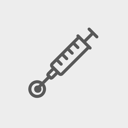 Injection icon thin line for web and mobile, modern minimalistic flat design. Vector dark grey icon on light grey background. Illustration