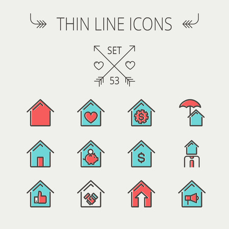 housing loan: Real Estate thin line icon set for web and mobile. Set includes -housing loan, mortgage, contoured house, saving, house insurance, broker, house alarm icons. Modern minimalistic flat design. Vector icon with dark grey outline and offset colour on light gr Illustration