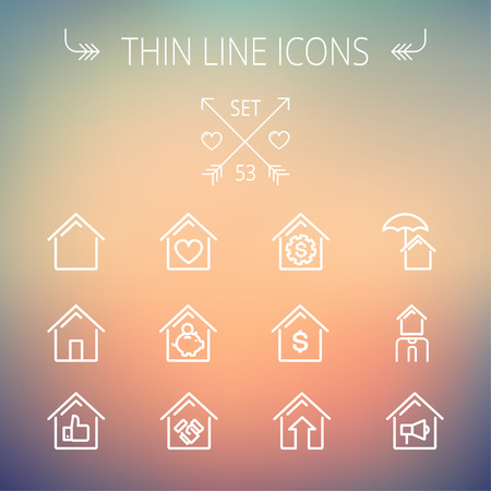 Real estate thin line icon set for web and mobile. Set includes- housing loan, mortgage, contoured house, saving, house insurance, broker, house alarm icons. Modern minimalistic flat design. Vector white icon on gradient mesh background. Vector
