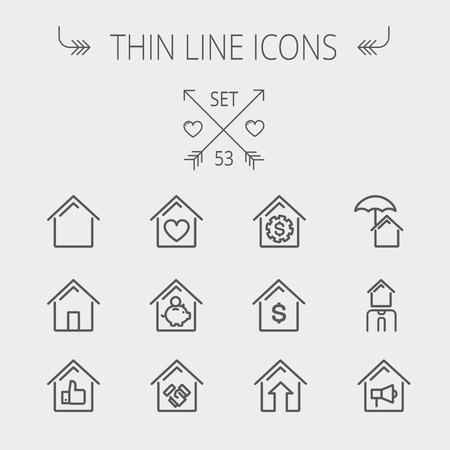 Real Estate dunne lijn icon set voor web en mobiel. Stel omvat-huisvesting lening, hypotheek, geronde huis, sparen, huis verzekering, makelaar, huis alarm iconen. Moderne minimalistische platte design. Vector donkergrijs pictogram op lichtgrijze achtergrond.