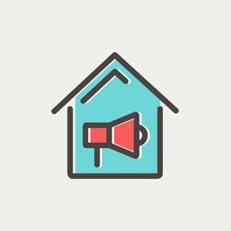 incendio casa: Icono de alarma contra incendios Casa delgada l�nea para web y m�vil, dise�o plano minimalista moderno. Vector icono con el esquema de color gris oscuro y el color offset sobre fondo gris claro.