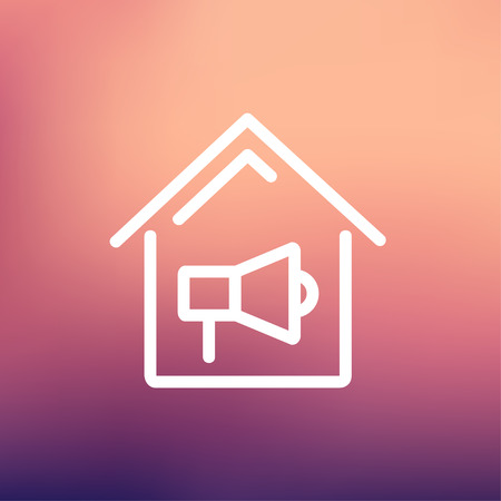 house on fire: House fire alarm icon thin line for web and mobile, modern minimalistic flat design. Vector white icon on gradient mesh background. Illustration