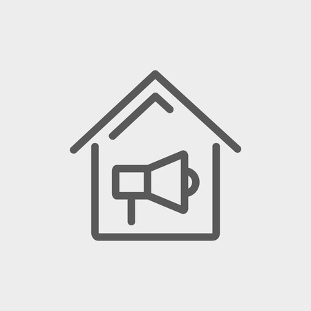 house fire: House fire alarm icon thin line for web and mobile, modern minimalistic flat design. Vector dark grey icon on light grey background.