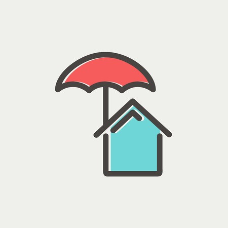 belay: House insurance icon thin line for web and mobile, modern minimalistic flat design. Vector icon with dark grey outline and offset colour on light grey background.