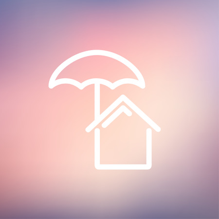belay: House insurance icon thin line for web and mobile, modern minimalistic flat design. Vector white icon on gradient mesh background.