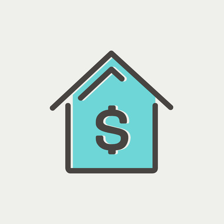 house mortgage: House mortgage icon thin line for web and mobile, modern minimalistic flat design. Vector icon with dark grey outline and offset colour on light grey background. Illustration