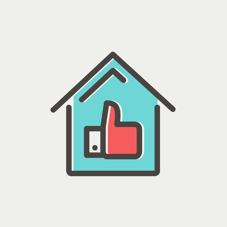 estate planning: Approved housing loan icon thin line for web and mobile, modern minimalistic flat design. Vector icon with dark grey outline and offset colour on light grey background.