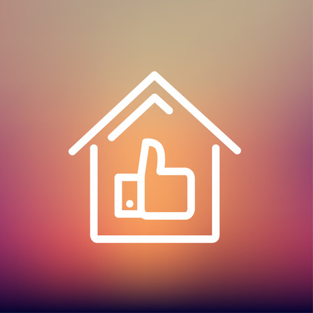 housing loan: Approved housing loan icon thin line for web and mobile, modern minimalistic flat design. Vector white icon on gradient mesh background. Illustration