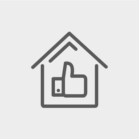 housing loan: Approved housing loan icon thin line for web and mobile, modern minimalistic flat design. Vector dark grey icon on light grey background.