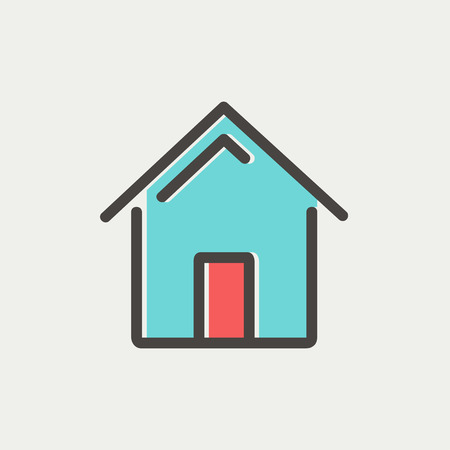 Real estate icon thin line for web and mobile, modern minimalistic flat design. Vector icon with dark grey outline and offset colour on light grey background. Vector