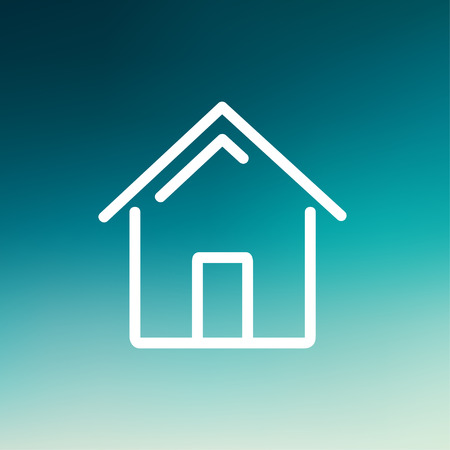 Real estate icon thin line for web and mobile, modern minimalistic flat design. Vector white icon on gradient mesh background.