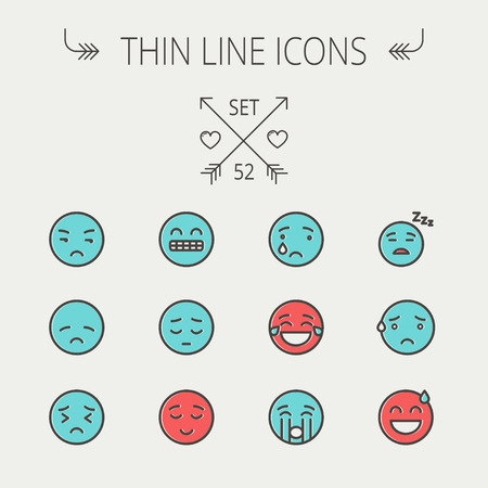 sweating: Emoji thin line icon set for web and mobile. Set include-sad, crying, tired, unhappy, exhausted, sleeping, sweating icons. Modern minimalistic flat design. Vector icon with dark grey outline and offset colour on light grey background.