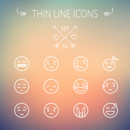 minimal: Emoji thin line icon set for web and mobile. Set includes-sad, crying, tired, unhappy, exhausted, sleeping, sweating icons. Modern minimalistic flat design. Vector white icon on gradient mesh background.