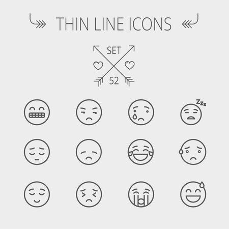 Emoji icône de la ligne mince fixé pour le web et mobile. Réglez comprend-triste, de pleurer, fatigué, malheureux, épuisés, dormir, transpiration icônes. Design plat moderne et minimaliste. Vecteur gris foncé icône sur fond gris clair. Illustration