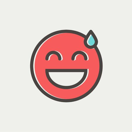 cool down: Happy sweat face icon thin line for web and mobile, modern minimalistic flat design. Vector icon with dark grey outline and offset colour on light grey background. Illustration