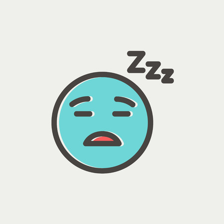 Sleeping icon thin line for web and mobile, modern minimalistic flat design. Vector icon with dark grey outline and offset colour on light grey background. 向量圖像