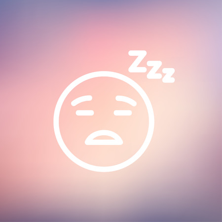 snore: Sleeping icon thin line for web and mobile, modern minimalistic flat design. Vector white icon on gradient mesh background.