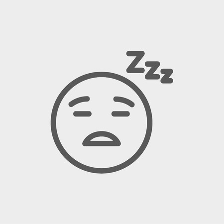 Sleeping icon thin line for web and mobile, modern minimalistic flat design. Vector dark grey icon on light grey background.