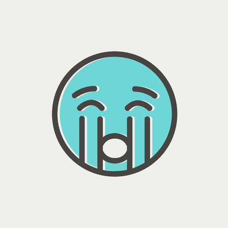 Crying out loud icon thin line for web and mobile, modern minimalistic flat design. Vector icon with dark grey outline and offset colour on light grey background.  イラスト・ベクター素材