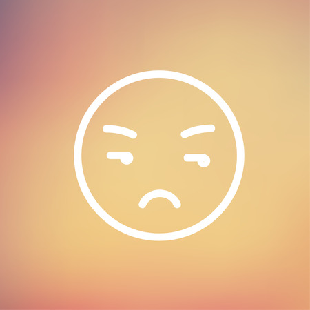 Unhappy face icon thin line for web and mobile, modern minimalistic flat design. Vector white icon on gradient mesh background. Vector