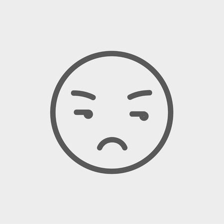 Unhappy face icon thin line for web and mobile, modern minimalistic flat design. Vector dark grey icon on light grey background.