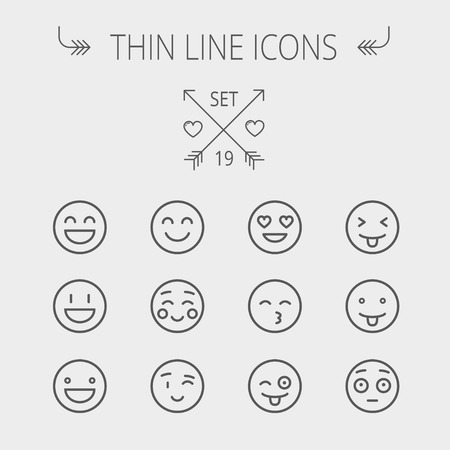 Emoji thin line icon set for web and mobile. Set includes- happy, cheerful, winking, curious, joker, funny icons. Modern minimalistic flat design. Vector dark grey icon on light grey background. Illustration