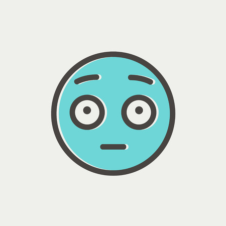 ludicrous: Frightened face icon thin line for web and mobile, modern minimalistic flat design. Vector icon with dark grey outline and offset colour on light grey background.