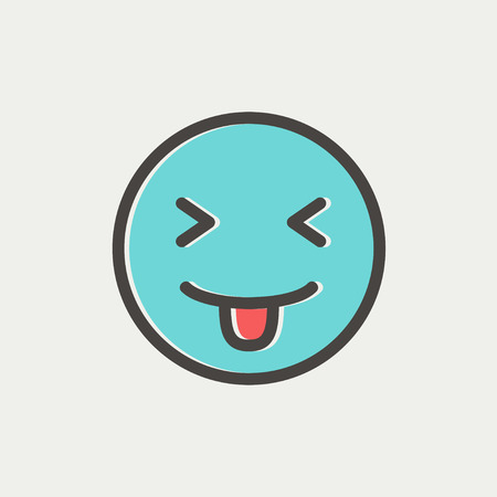 Funny icon thin line for web and mobile, modern minimalistic flat design. Vector icon with dark grey outline and offset colour on light grey background. Illustration