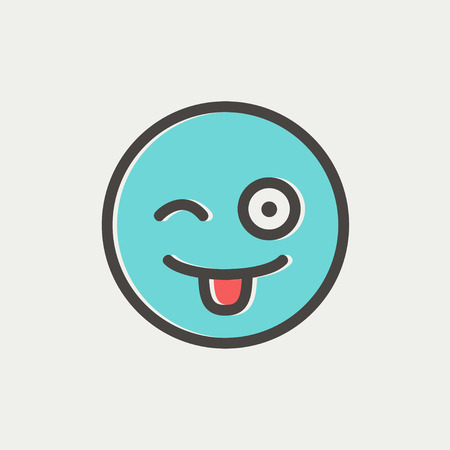 protruding: Happy winking emoticon with protruding tongue icon thin line for web and mobile, modern minimalistic flat design. Vector icon with dark grey outline and offset colour on light grey background.