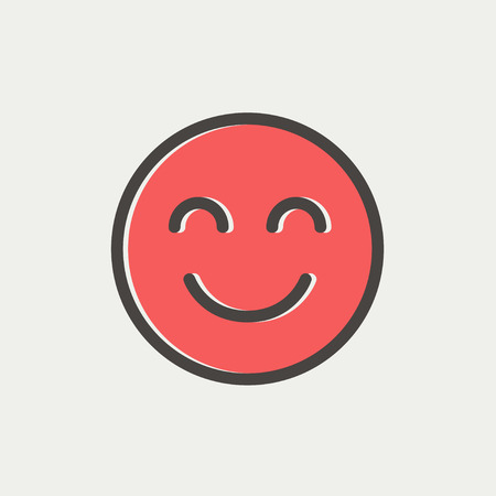 smily: Cute smile icon thin line for web and mobile, modern minimalistic flat design. Vector icon with dark grey outline and offset colour on light grey background. Illustration