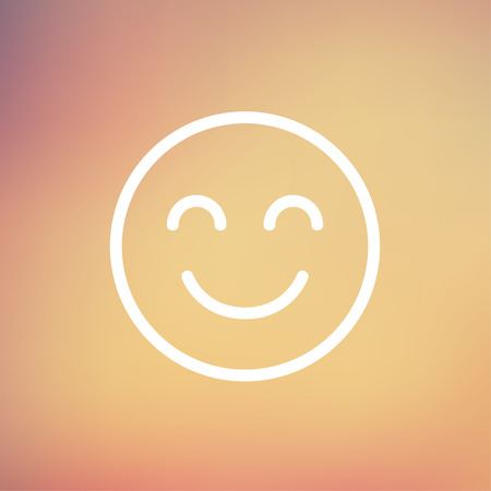 Cute smile icon thin line for web and mobile, modern minimalistic flat design. Vector white icon on gradient mesh background.