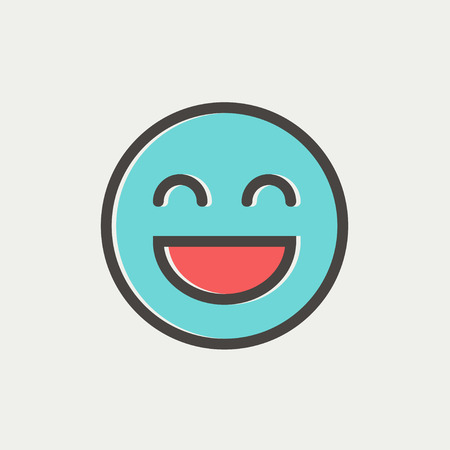 Cheerful emoji icon thin line for web and mobile, modern minimalistic flat design. Vector icon with dark grey outline and offset colour on light grey background.