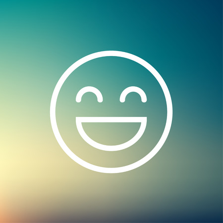 Cheerful emoji icon thin line for web and mobile, modern minimalistic flat design. Vector white icon on gradient mesh background. Ilustração