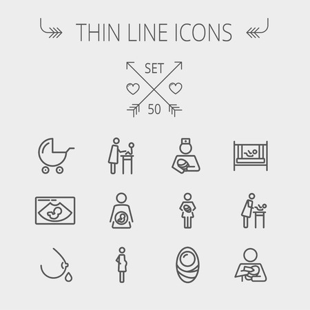 web icons: Medicine thin line icon set for web and mobile. Set includes- breastmik, breastfeed. crib icons. Modern minimalistic flat design. Vector dark grey icon on light grey background. Illustration