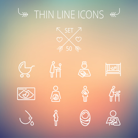 breastfeed: Medicine thin line icon set for web and mobile. Set includes- breastmik, breastfeed. crib icons. Modern minimalistic flat design. Vector white icon on gradient mesh background.