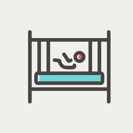 kiddy: Baby inside the crib icon thin line for web and mobile, modern minimalistic flat design. Vector icon with dark grey outline and offset colour on light grey background.