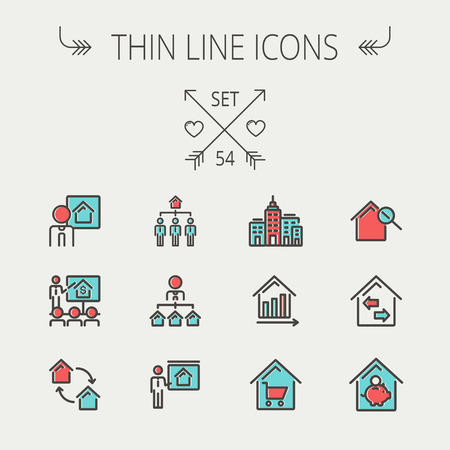 web icons: Real estate thin line icon set for web and mobile. Set include-agents, training, seminar, building, growth graph, house with magnifying glass icons. Modern minimalistic flat design. Vector icon with dark grey outline and offset colour on light grey backgr