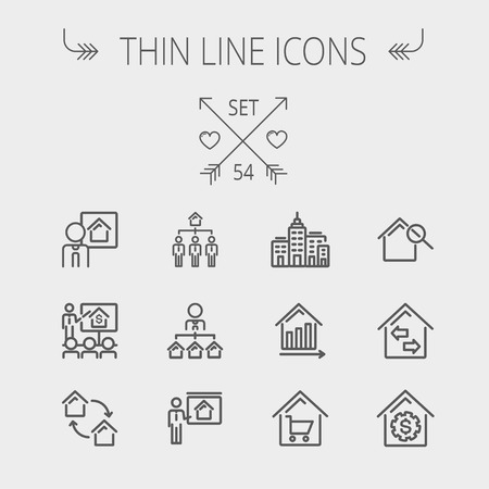 Real estate thin line icon set for web and mobile. Set includes- agents, training, seminar, building, growth graph, house with magnifying glass icons. Modern minimalistic flat design. Vector dark grey icon on light grey background.