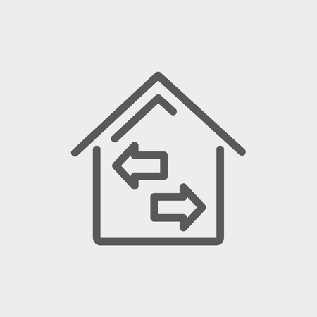 House with left and right icon icon thin line for web and mobile, modern minimalistic flat design. Vector dark grey icon on light grey background.