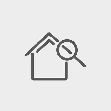 House and magnifying glass icon thin line for web and mobile, modern minimalistic flat design. Vector dark grey icon on light grey background.  イラスト・ベクター素材