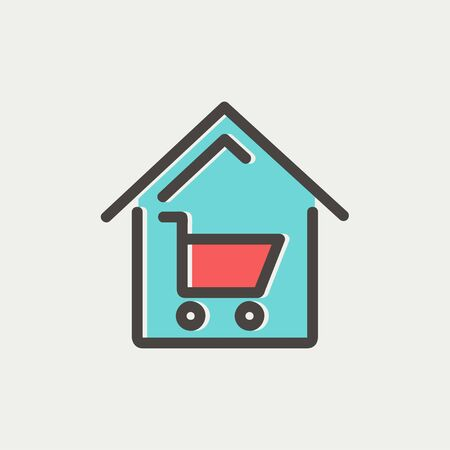 house shopping: House shopping icon thin line for web and mobile, modern minimalistic flat design. Vector icon with dark grey outline and offset colour on light grey background.