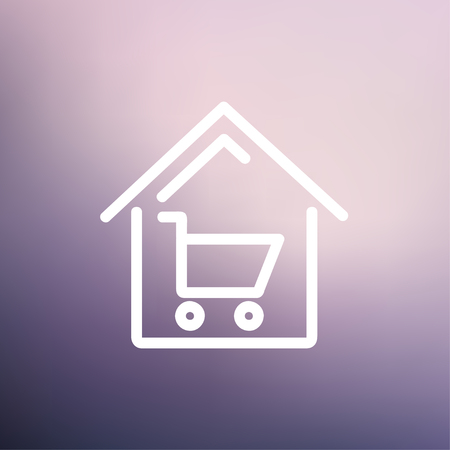 house shopping: House shopping icon thin line for web and mobile, modern minimalistic flat design. Vector white icon on gradient mesh background.