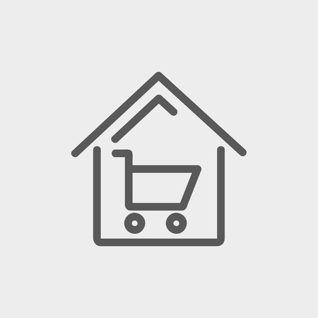 house shopping: House shopping icon thin line for web and mobile, modern minimalistic flat design. Vector dark grey icon on light grey background. Illustration