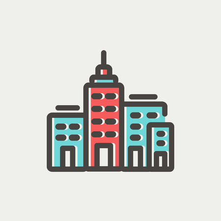 real estate industry: Condominium building icon thin line for web and mobile, modern minimalistic flat design. Vector icon with dark grey outline and offset colour on light grey background.