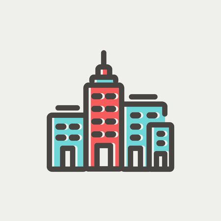 locales comerciales: Icono de la construcción delgada línea Condominio en web y móvil, diseño plano minimalista moderno. Vector icono con el esquema de color gris oscuro y el color offset sobre fondo gris claro.